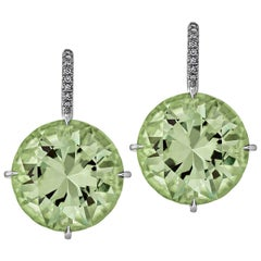Prasiolite Diamond Platinum Earrings