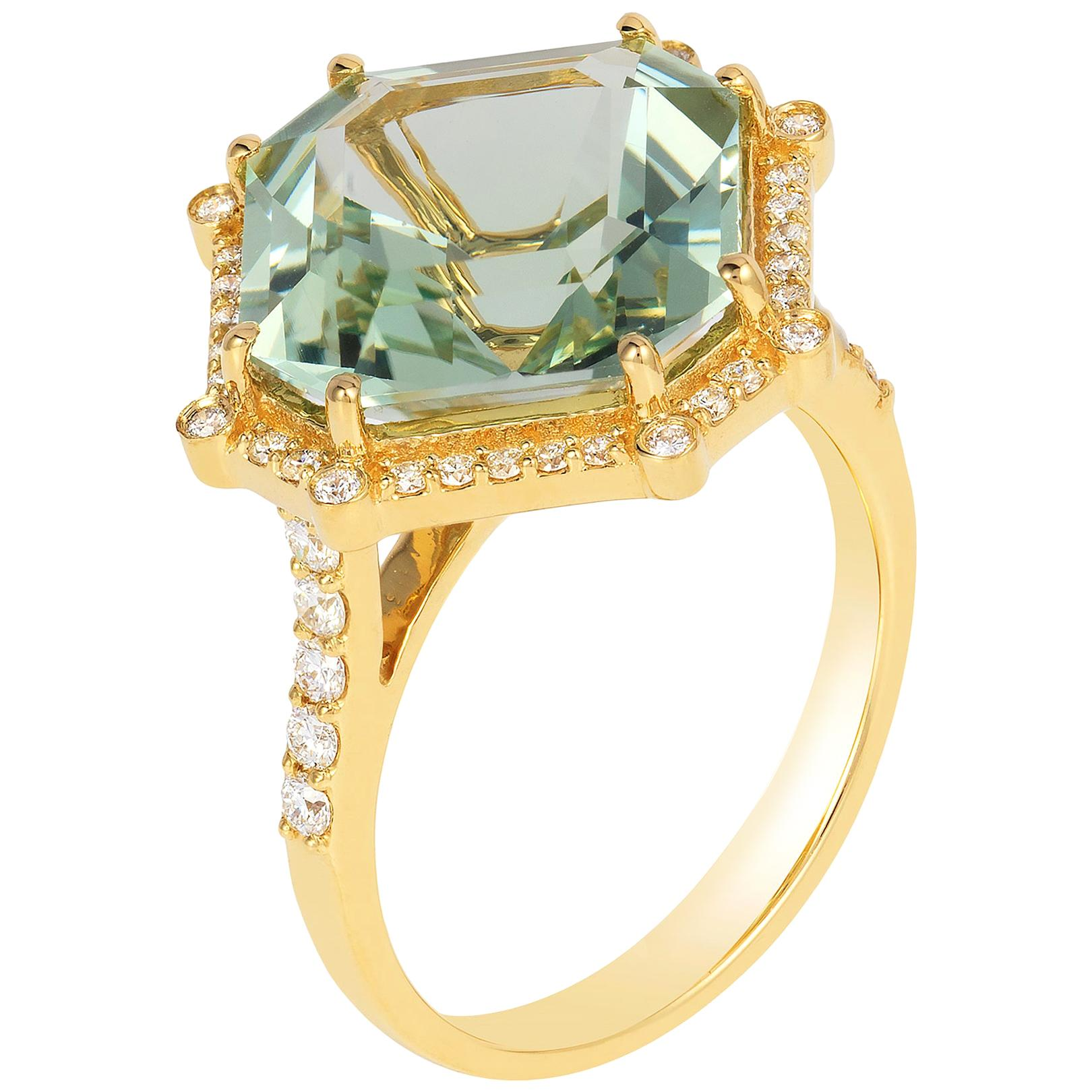 Goshwara Emerald Cut Prasiolite With Diamond Ring