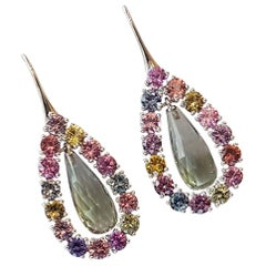 Prasiolite and Natural Untreated Sapphire Gold Earrings by Wagner Preziosen