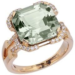 Goshwara Emerald Square Cut Prasiolite And Diamond Ring