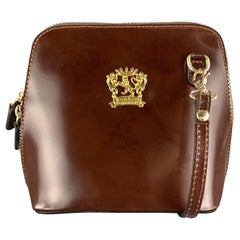 PRATESI Brown Leather Mini Gold Zipper & Plaque Square Crossbody Bag