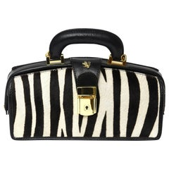Pratesi Zebra Pony Hair & Black Leather Handbag with Gold Plate Italian Vintage