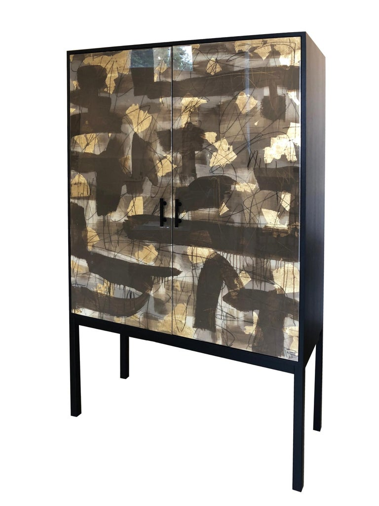 Pratt Armoire, Hand-Painted Art Door Cabinet by Morgan Clayhall In New Condition For Sale In Toronto, ON