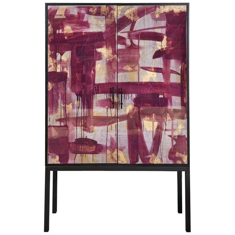 Pratt Armoire, Hand-Painted Art Door Cabinet by Morgan Clayhall For Sale