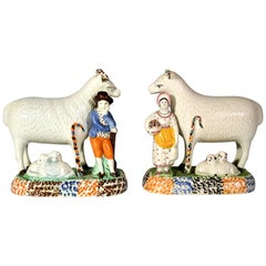 Prattware Pair of Sheep and Shepherd and Shepherdess,  Yorkshire,