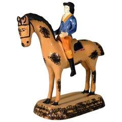 Prattware Pearlware Large Figure of Horse & Rider, Yorkshire,  circa 1800-1825