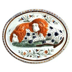Prattware Pearlware Pottery Plaque of Lions