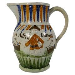 Prattware Pottery Jug 'Admiral Duncan', circa 1798