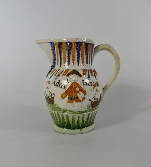Prattware pottery jug 'Admiral Duncan', c. 1798.