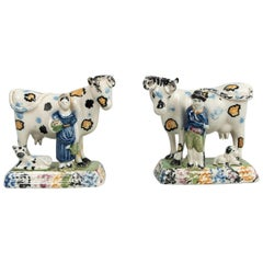 Prattware Pottery Models of Cows with Figures, Yorkshire, 1810-1820
