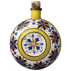 Prattware Pottery Spirit Flask Decorated with Dark Ochre and Blue Flowers, 1815