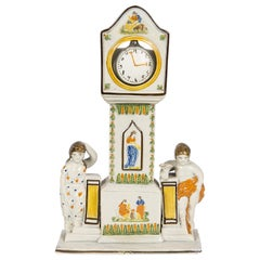 Prattware Watch Stand with Original Pottery Watch