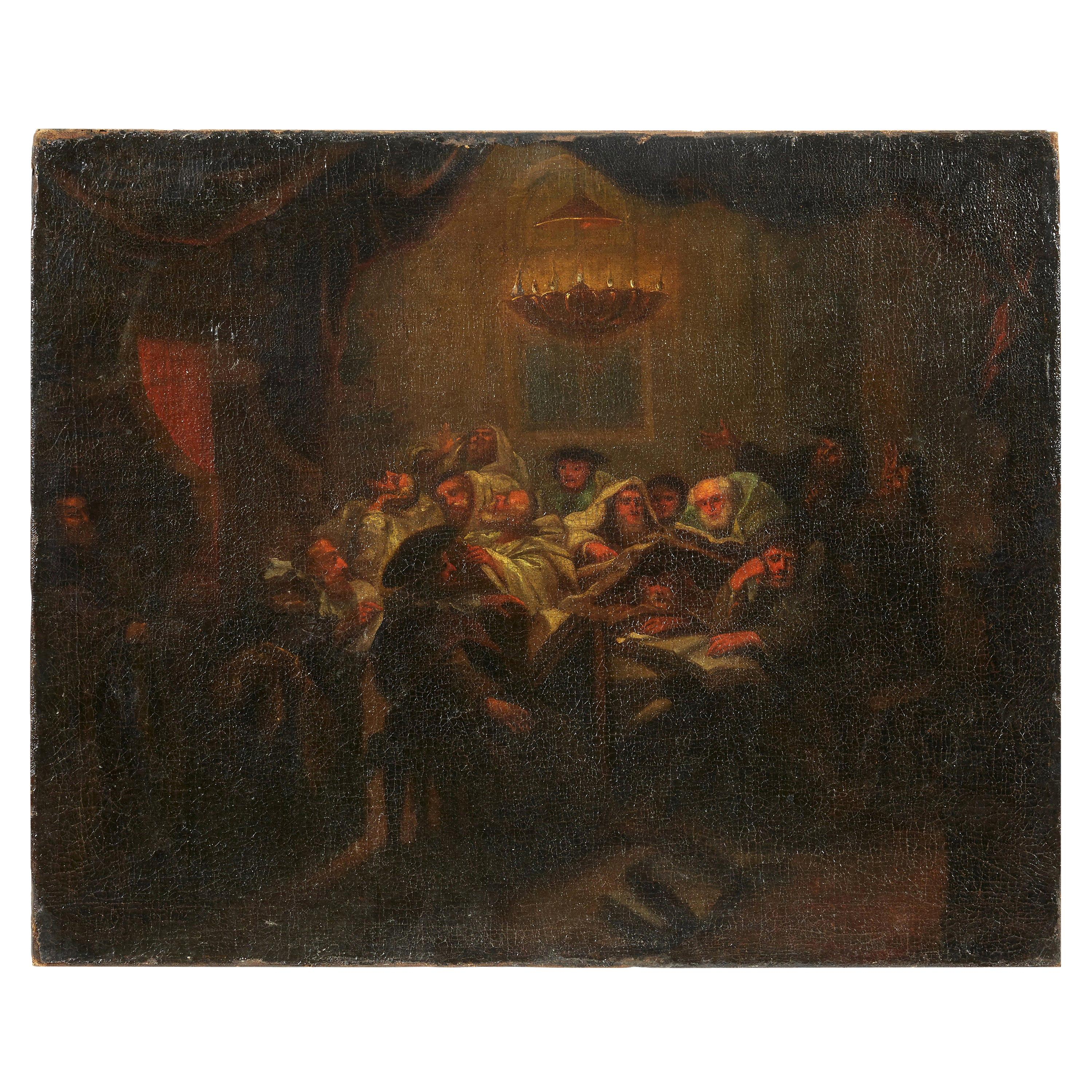 Prayers at the Synagogue, 17th Century Italy Old Master Painting