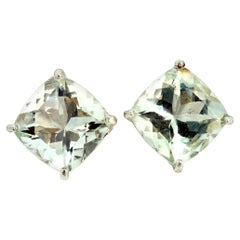 Praziolite Green Amethyst Sterling Silver Earrings