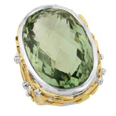 Prazolite and Diamond Ring in Silver and Gold