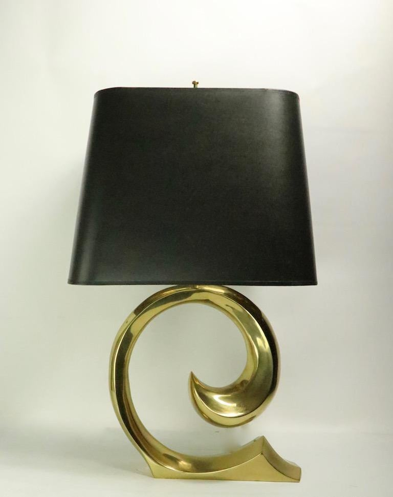 Pair of Brass Wave Lamps by Erwin Lambeth Design Attributed to Pierre Cardin For Sale 4