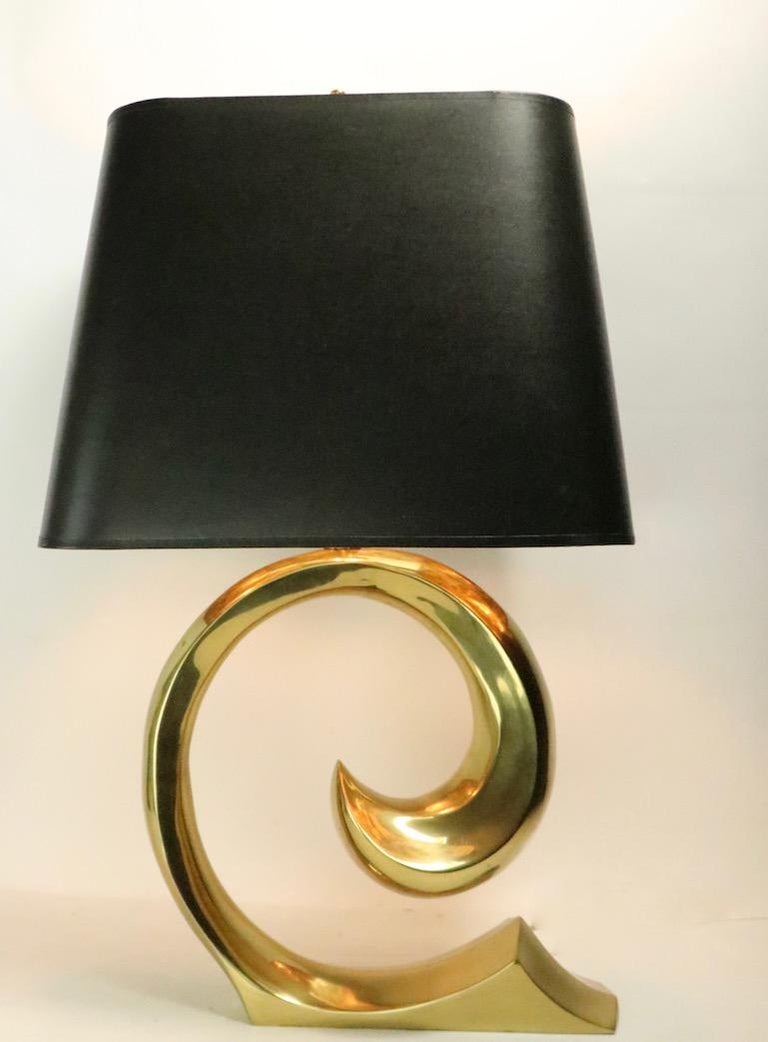 Pair of Brass Wave Lamps by Erwin Lambeth Design Attributed to Pierre Cardin For Sale 5