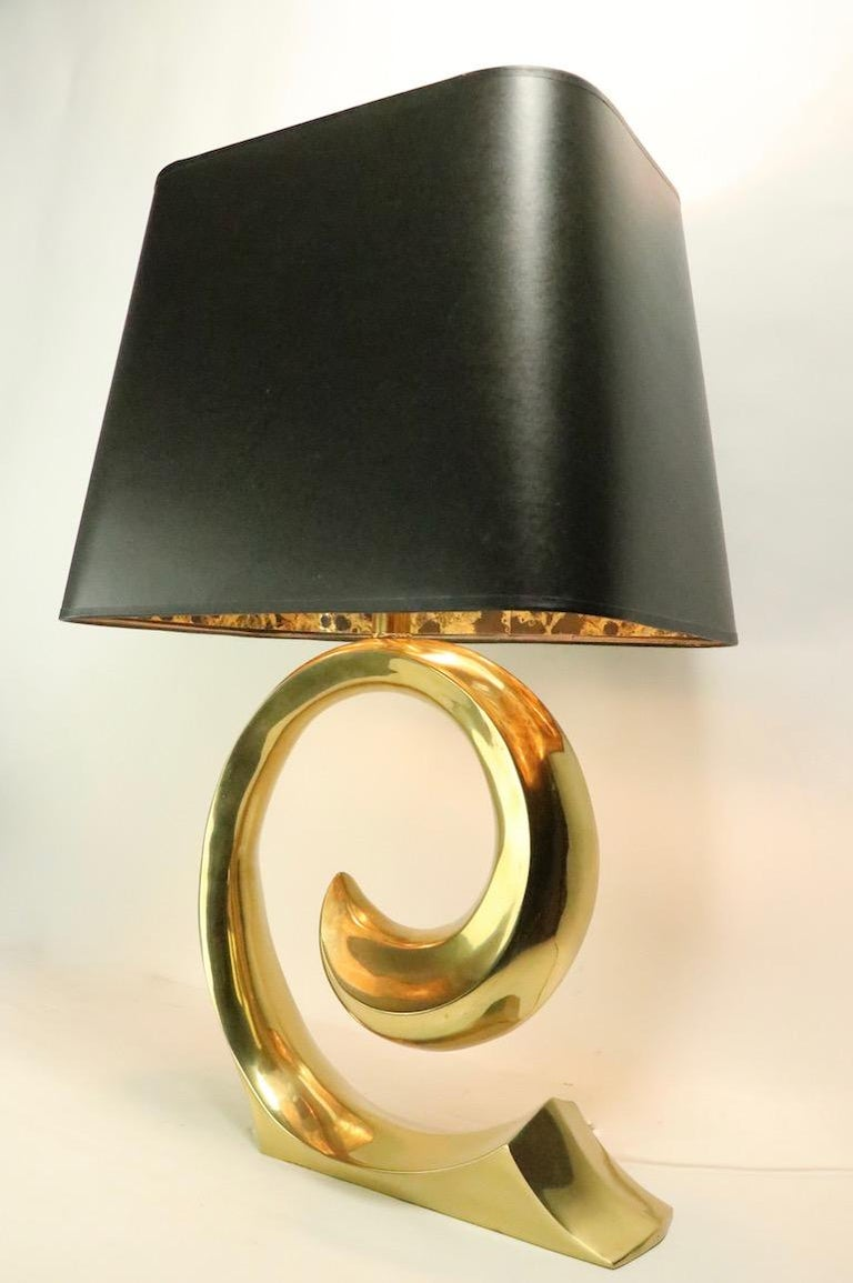 Pair of Brass Wave Lamps by Erwin Lambeth Design Attributed to Pierre Cardin For Sale 6