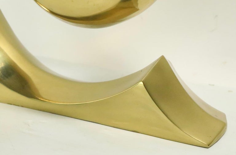 South Korean Pair of Brass Wave Lamps by Erwin Lambeth Design Attributed to Pierre Cardin For Sale