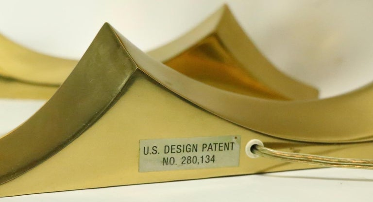 Pair of Brass Wave Lamps by Erwin Lambeth Design Attributed to Pierre Cardin For Sale 3