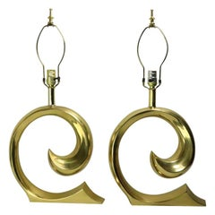 Pair of Brass Wave Lamps by Erwin Lambeth Design Attributed to Pierre Cardin