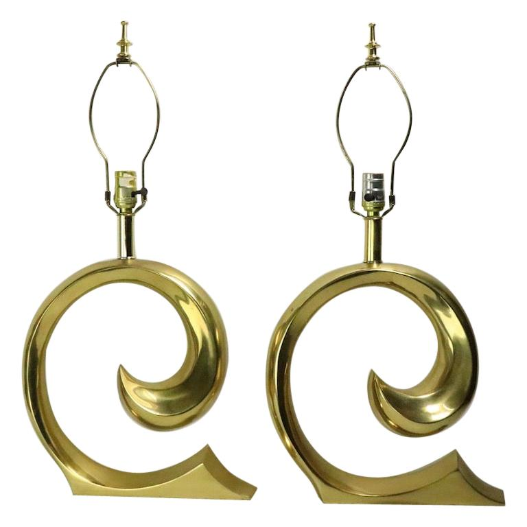 Pair of Brass Wave Lamps by Erwin Lambeth Design Attributed to Pierre Cardin For Sale