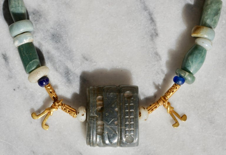 Pre Columbian Gold and Jade Necklace  For Sale 3