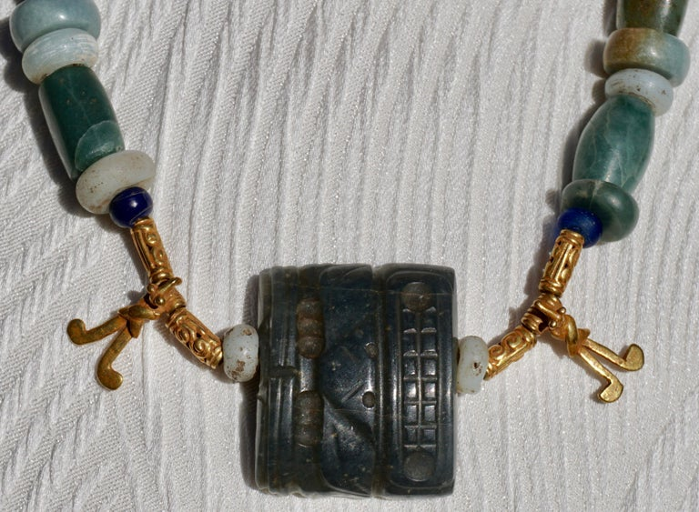 Pre Columbian Gold and Jade Necklace  For Sale 4