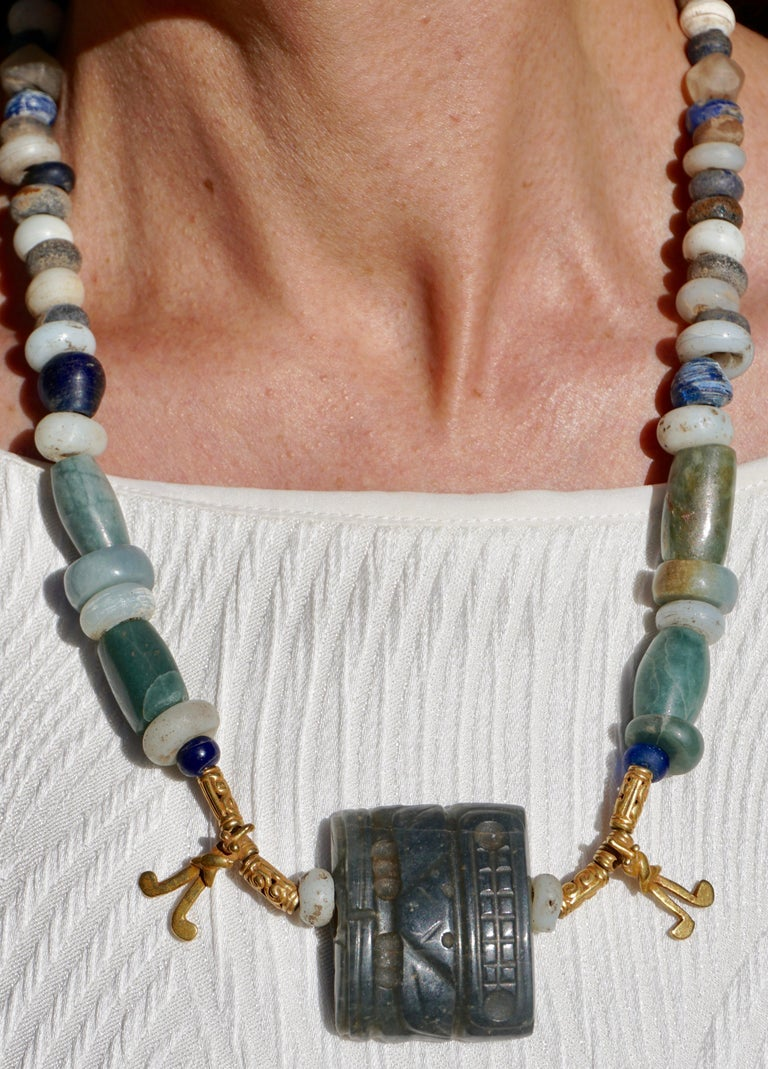 18th Century and Earlier Pre Columbian Gold and Jade Necklace  For Sale