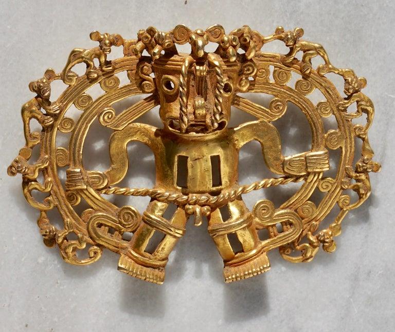 Pre-Columbian Pre Columbian Gold Shaman with Monkeys Pendant Diquís A.D. 1000-1500 For Sale
