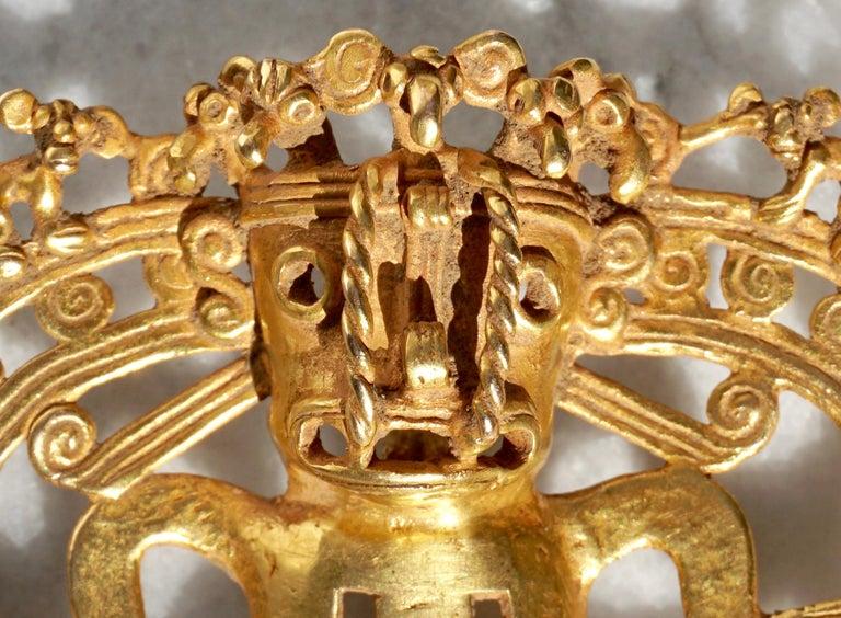 Cast Pre Columbian Gold Shaman with Monkeys Pendant Diquís A.D. 1000-1500 For Sale