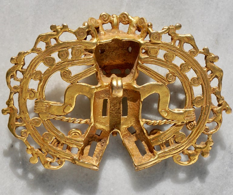 18th Century and Earlier Pre Columbian Gold Shaman with Monkeys Pendant Diquís A.D. 1000-1500 For Sale