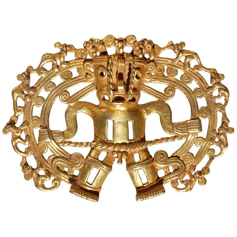 Pre Columbian Gold Shaman with Monkeys Pendant Diquís A.D. 1000-1500 For Sale