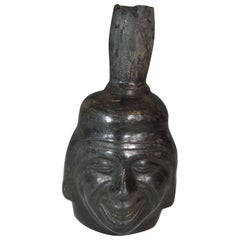 Pre Columbian Inca Grey Ware Portrait Head Vessel Ancient South America