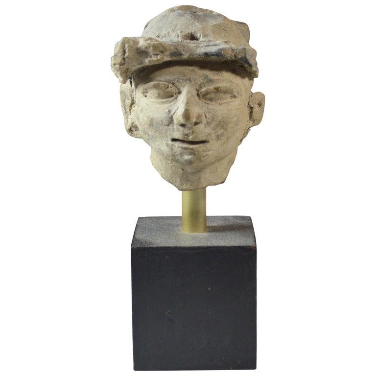Pre Columbian La Tolita / Tumaco Pottery Head circa BC 200 Ecuador/ Columbia For Sale