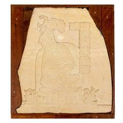 Pre Columbian Limestone Carved Plaque