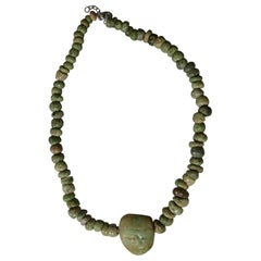 Pre Columbian Maya Jadeite Necklace with Pendant