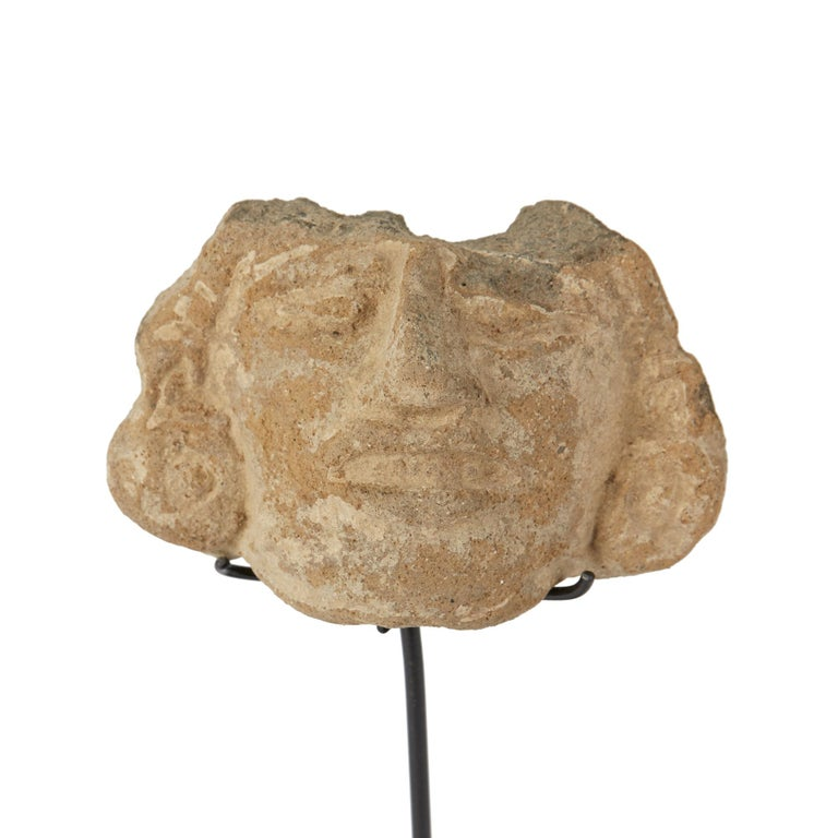 18th Century and Earlier Pre-Columbian Mounted Zapotec Carved Adornos Stone Mask For Sale