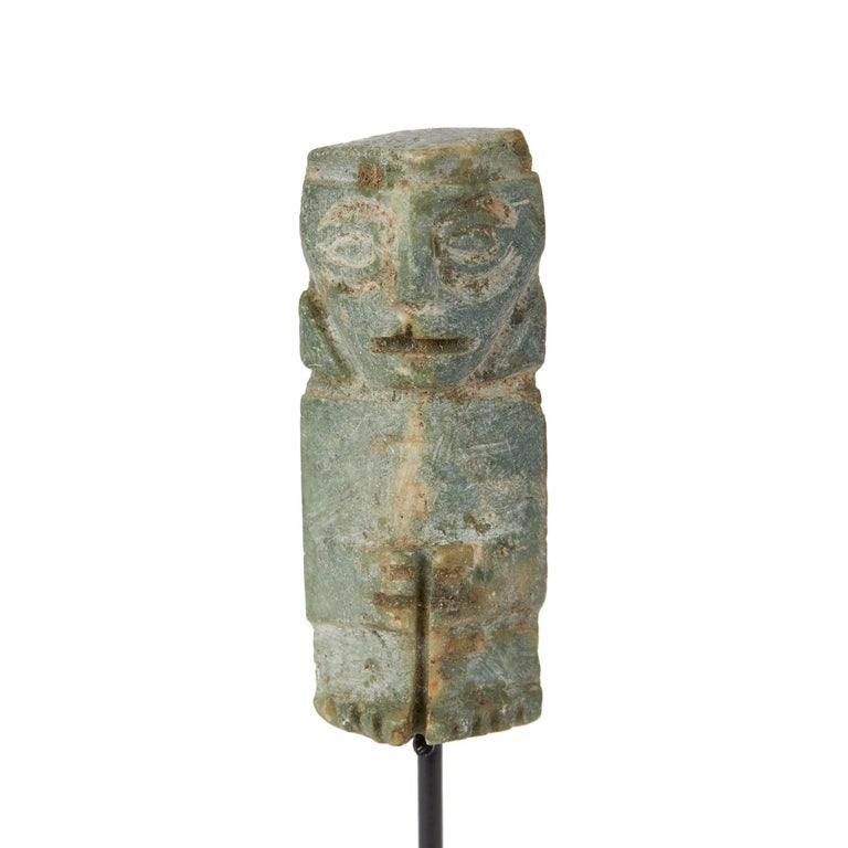 18th Century and Earlier Pre-Columbian Mounted Zapotec Carved Stone Figure For Sale