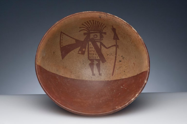 Fine Pre-Columbian Narino footed bowl from Columbia, circa 850 to 1500. Desirable polychrome bowl with vibrant color and rare warrior image.