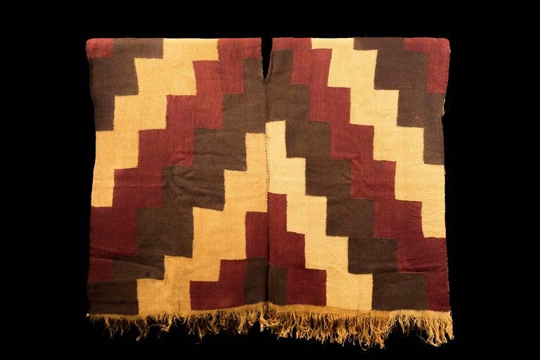 Peruvian Pre-Columbian Nazca Stepped Textile Poncho, Nazca Peru, 200-400 AD For Sale