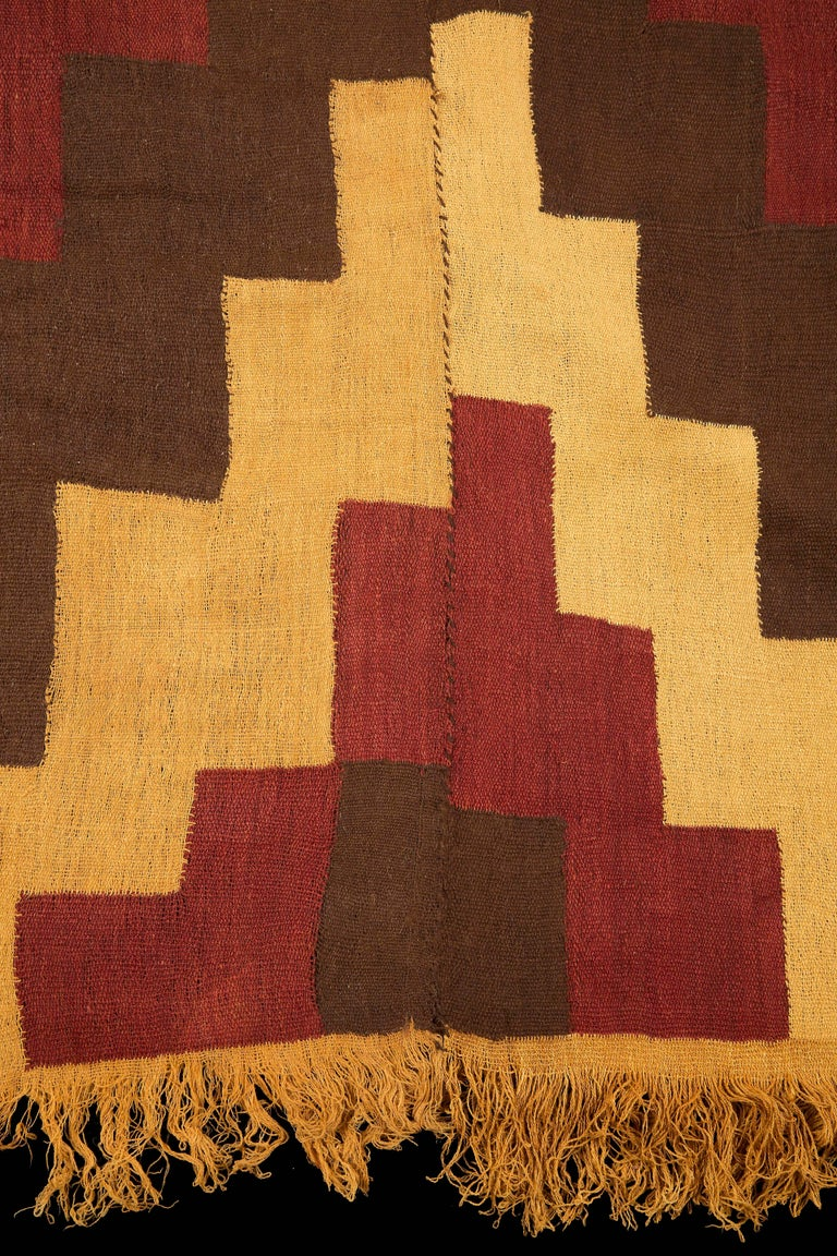 18th Century and Earlier Pre-Columbian Nazca Stepped Textile Poncho, Nazca Peru, 200-400 AD For Sale