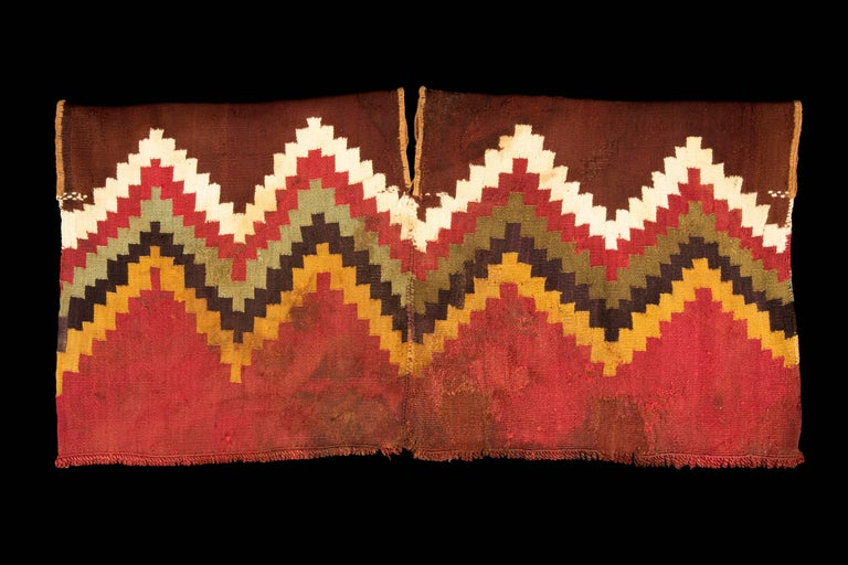 Peruvian Pre-Columbian Nazca Unku with Stepped Zig-Zag Design, Peru 200-300 AD For Sale