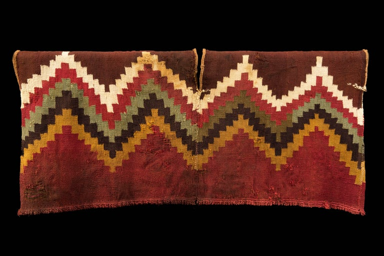 18th Century and Earlier Pre-Columbian Nazca Unku with Stepped Zig-Zag Design, Peru 200-300 AD For Sale