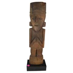 Pre Columbian Stunning Large Chimú Wood Marker Figure Ex Sothebys