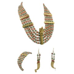 Pre-Columbian Style Sinu Tumbaga Toucan Tooth Gemstone Necklace Bracelet Earring