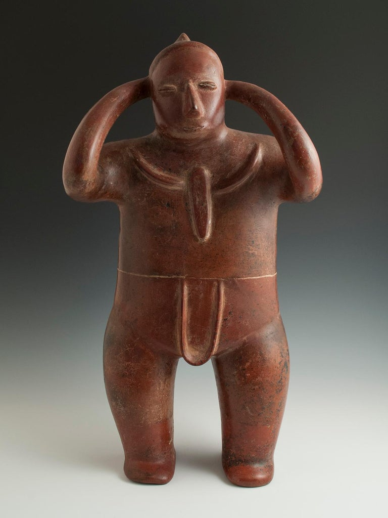 Pre-Columbian terracotta water carrier (Cargador) Colima, West Mexico