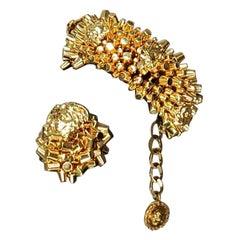 Pre-Fall 2013 L# 2 VERSACE 24K GOLD PLATED MEDUSA BRACELET and RING SET size 7