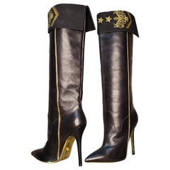 Pre-Fall 2013 L# 8 VERSACE MILITARY BLACK LEATHER KNEE BOOTS w/EMBROIDERY 40-10
