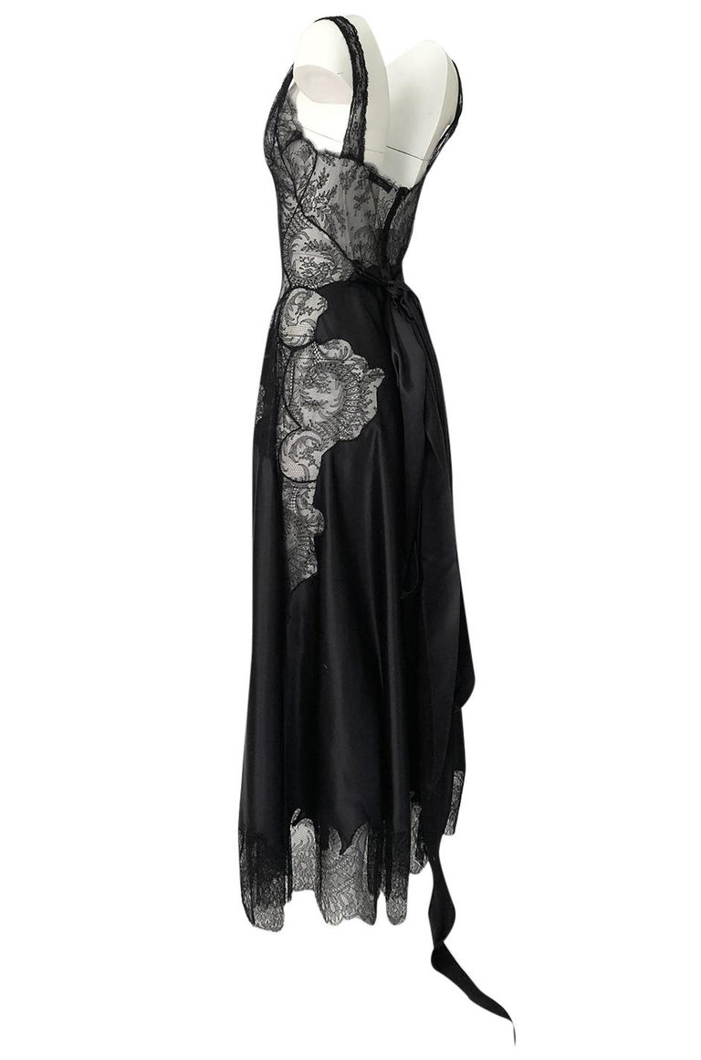 Pre-Fall 2015 Ricardo Tisci for Givenchy Black Silk Satin & Lace Dress For Sale 1